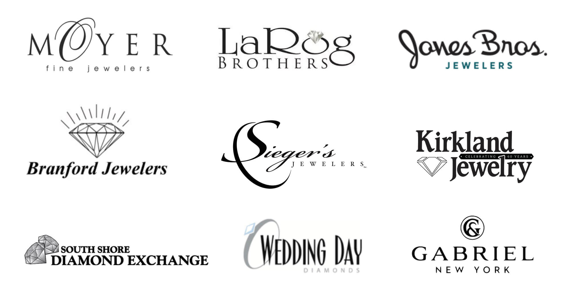 moyer fine jewelers, larog brothers, jones bros. jewelers, branford jewelers, sieger's jewelers, kirkland jewelry, south shore diamond exchange, wedding day diamonds, gabriel new york